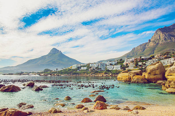 beautiful beach in cape town - cape peninsula stock pictures, royalty-free photos & images