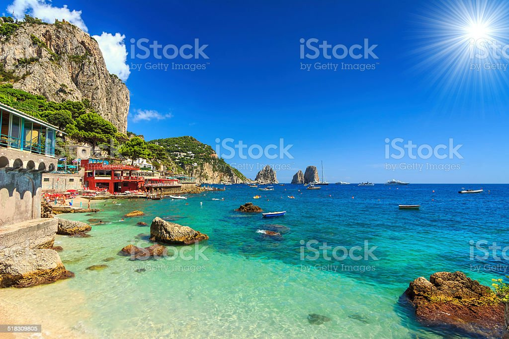 Beautiful beach in Capri island,Italy,Europe stock photo