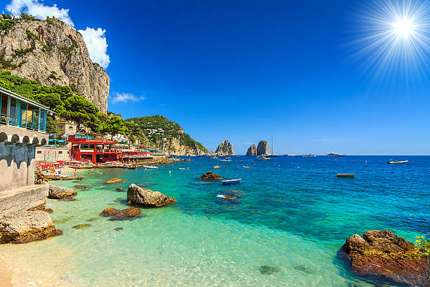 Beautiful beach in Capri island,Italy,Europe stock photo