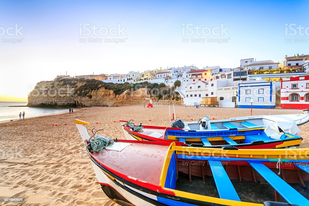 Beautiful beach in Carvoeiro, Algarve, Portugal stock photo