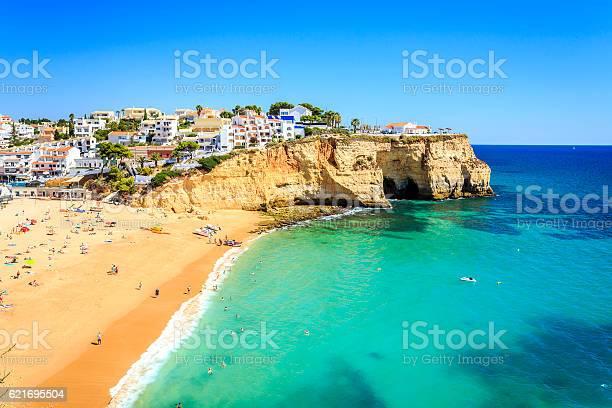 Beautiful beach and architecture in Carvoeiro, Algarve, Portugal