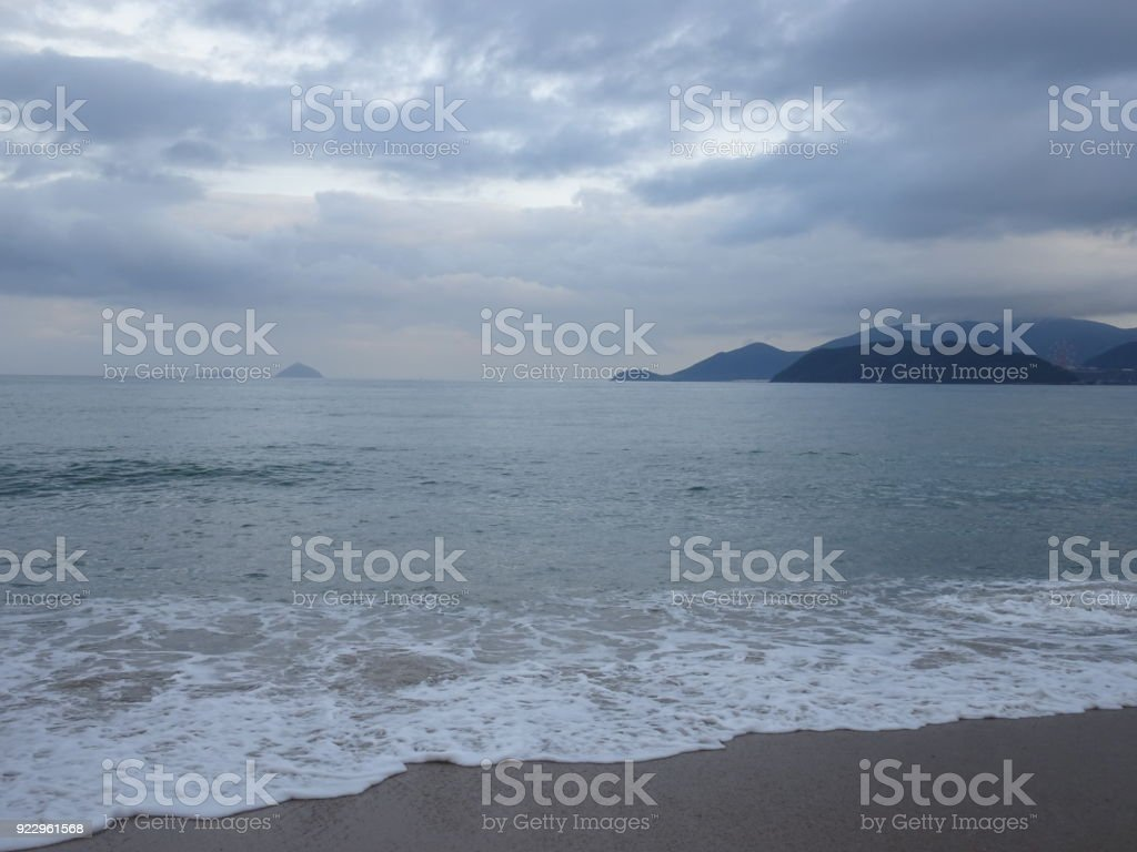 Beautiful Beach In Nha Trang With The Island Vinpearl In