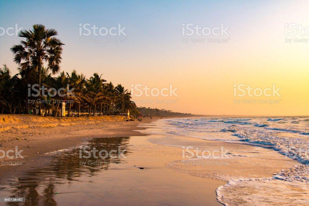 Beautiful beach in Serrekunda, Gambia stock photo