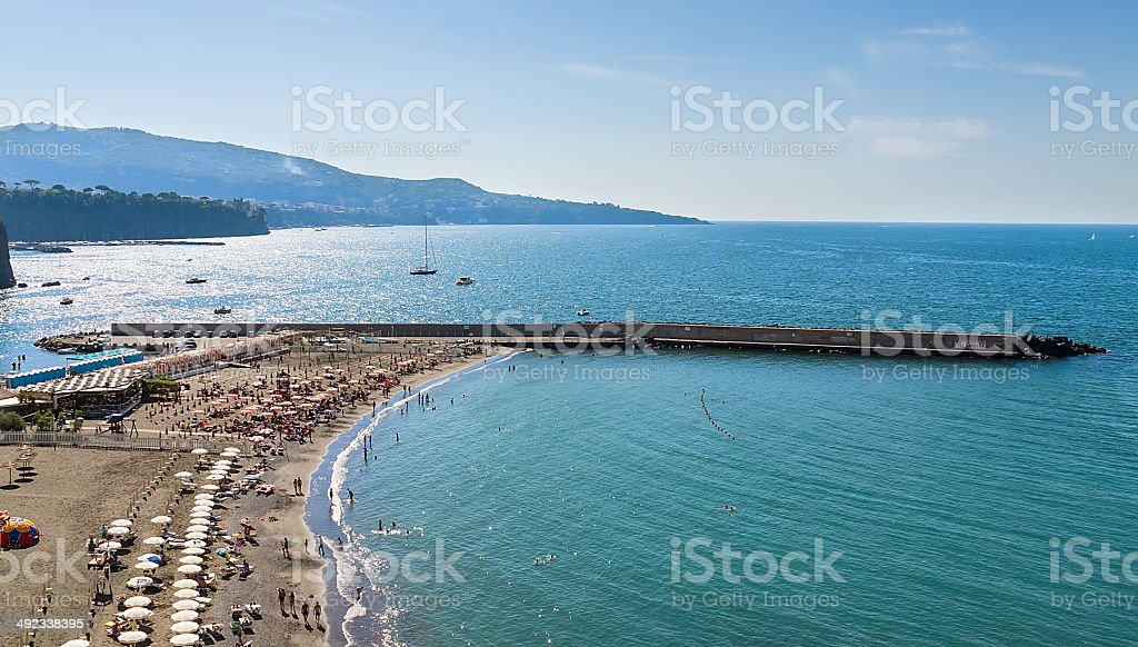 beautiful beach in Sorrento Italy stock photo