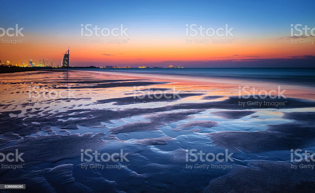 Beautiful beach in sunset light stock photo