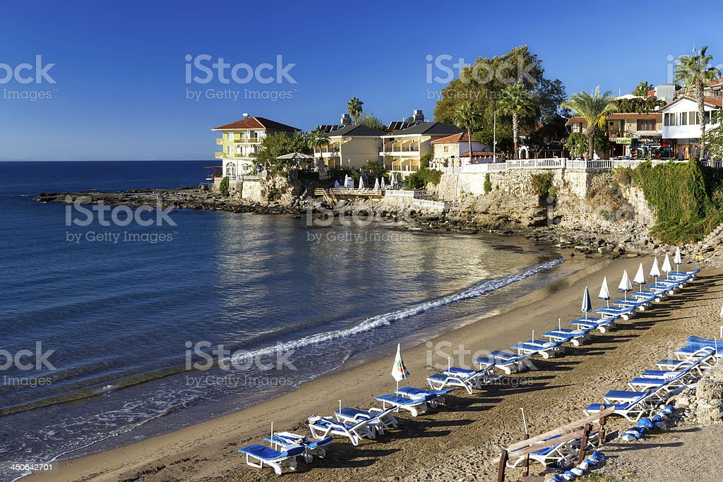 Beautiful beach in the center of Side, Turkey stock photo