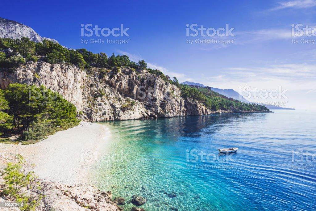 Beautiful beach, Mediterranean sea, Makarska riviera, Croatia stock photo