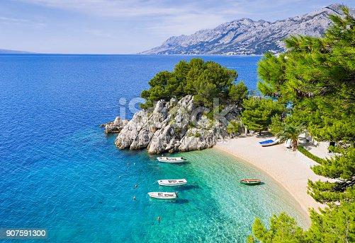 istock Beautiful beach, Mediterranean sea, Makarska riviera, Croatia 907591300