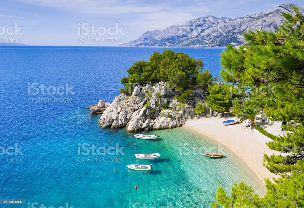 Beautiful beach, Mediterranean sea, Makarska riviera, Croatia stock photo