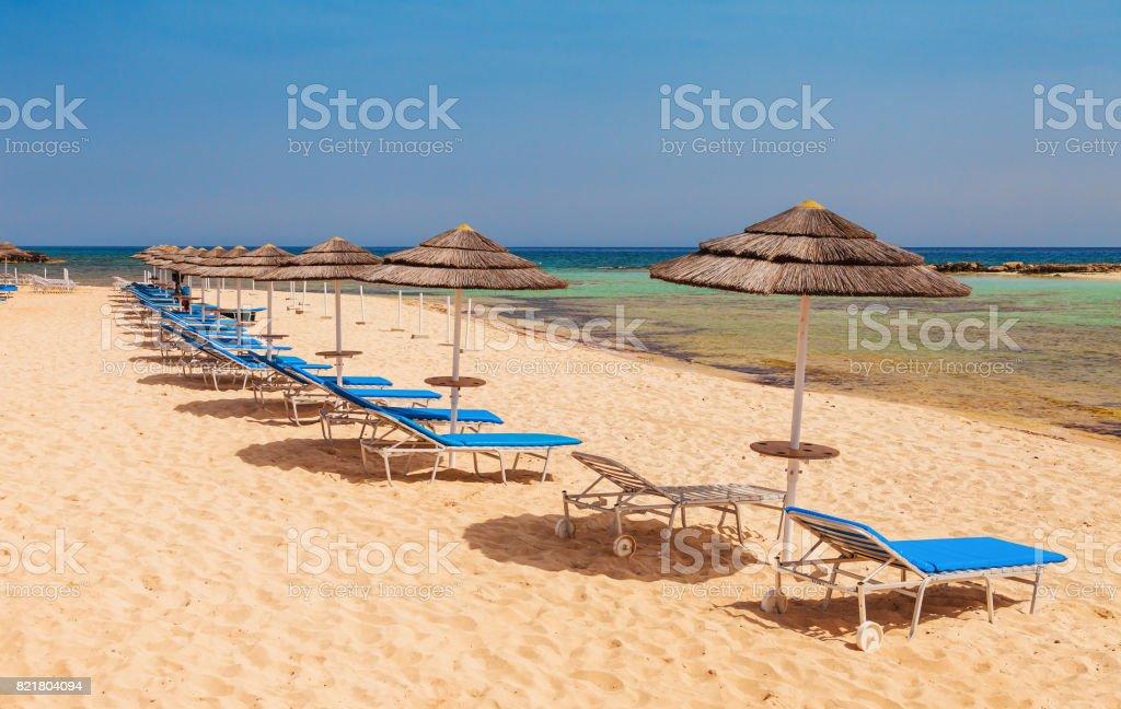 Beautiful beach near of Nissi and Cavo Greco in Ayia Napa, Cyprus island, Mediterranean Sea. stock photo