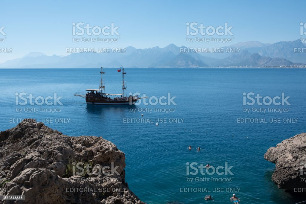 beautiful beach near the old town of Kaleici in Antalya in Turkey stock photo