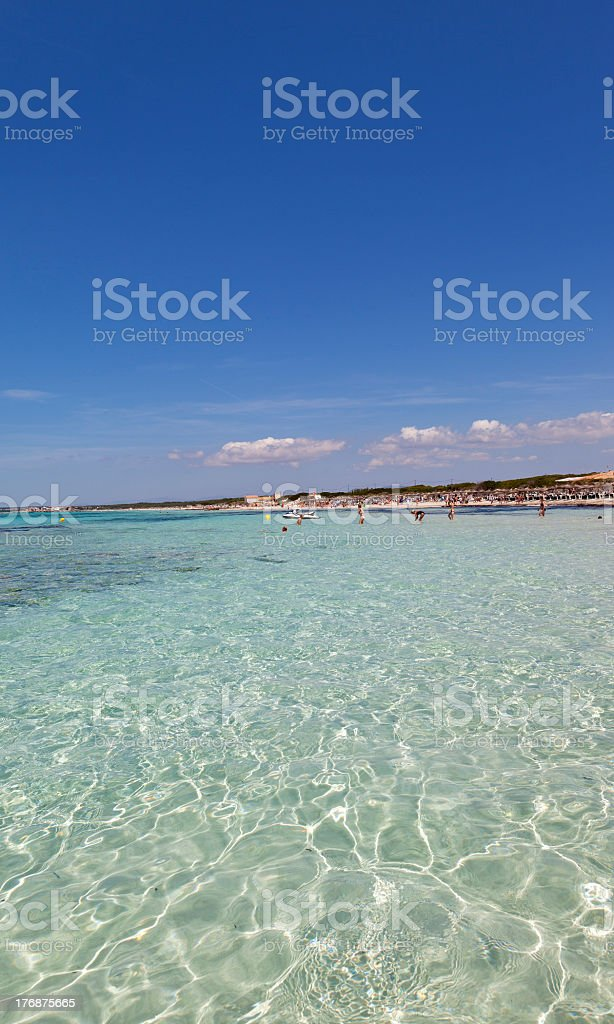 Beautiful Beach Of ES TRENC. stock photo