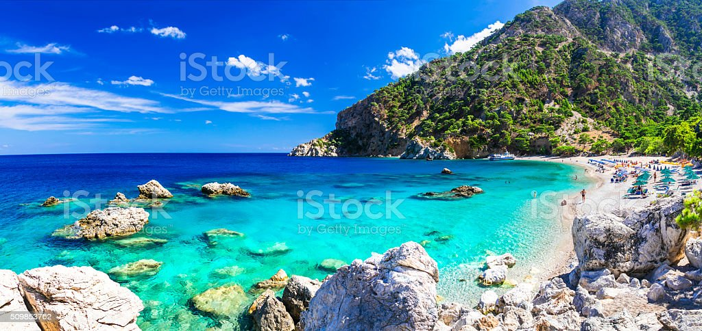Beautiful Beach of Karpathos Island,Greece. stock photo