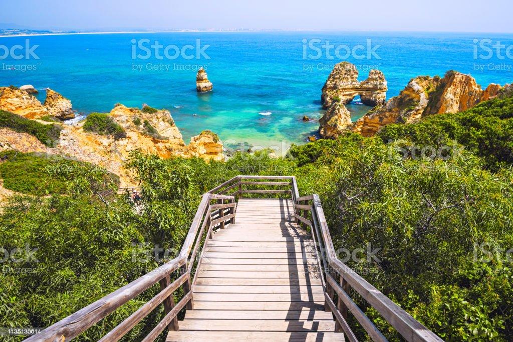 Beautiful beach on Algarve coast, Portugal stock photo