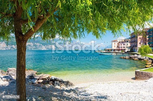 istock Beautiful beach on Garda Lake, Italy 870264526