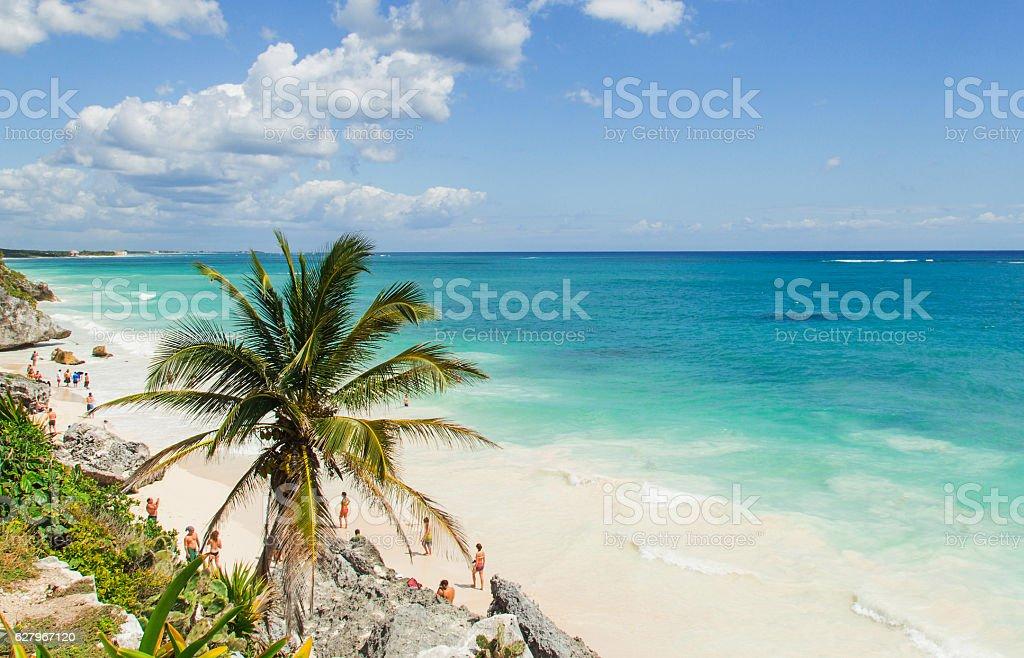 Beautiful beach on the Caribbean coast. Tulum, Mexico stock photo