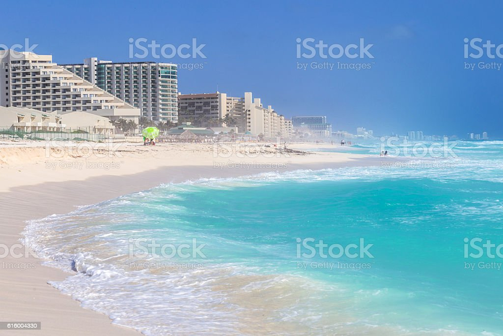 Beautiful beach on the Caribbean coast. Zona Hoteliera, Cancun, Mexico stock photo