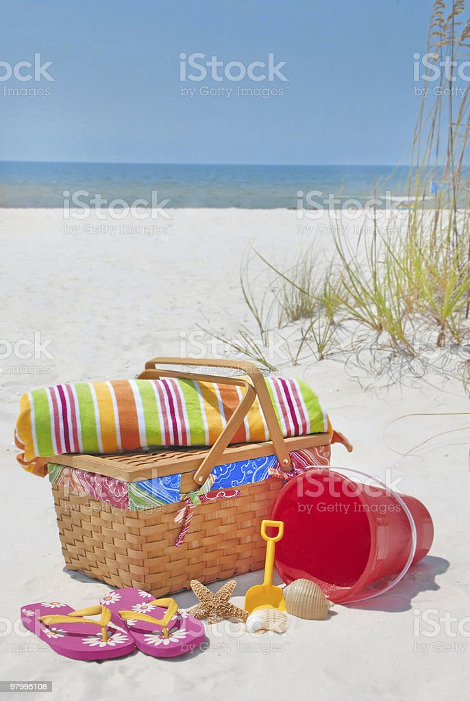 Beautiful beach picnic royalty-free stock photo