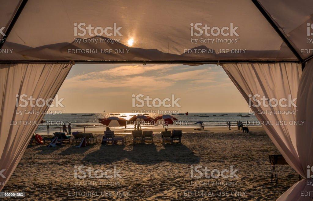 Beautiful beach restaurant stock photo