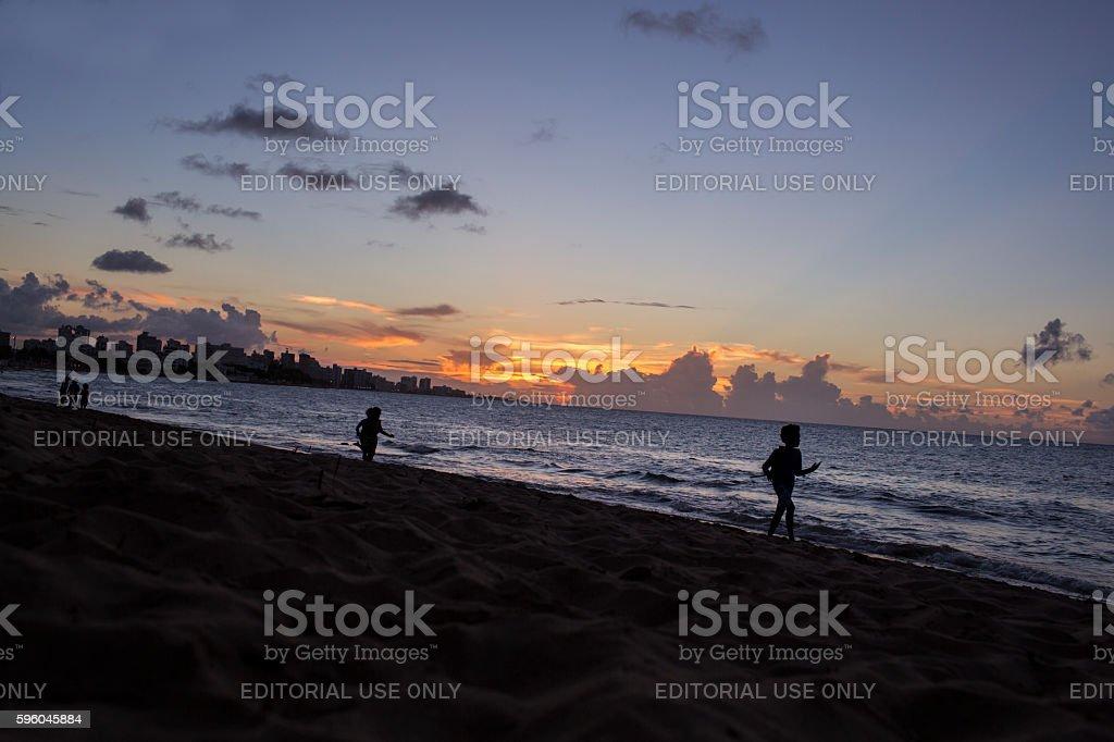 Beautiful beach silhouette royalty-free stock photo