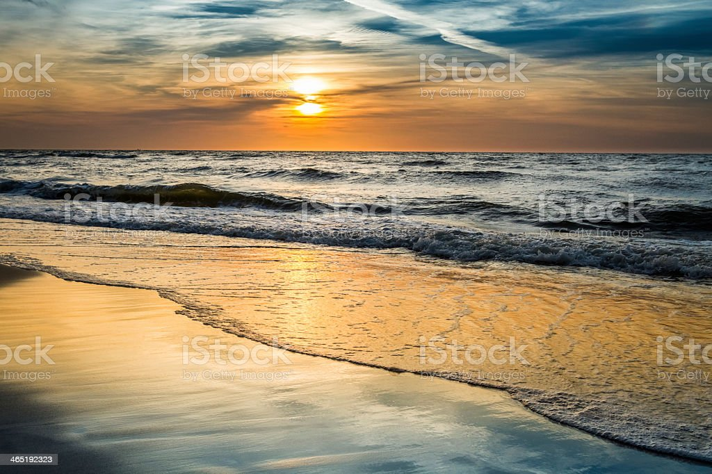 Beautiful beach sunset in the summer stock photo