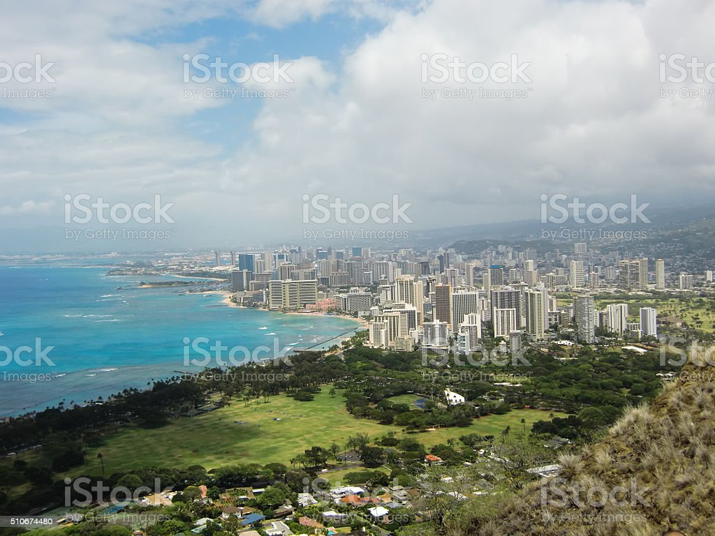 Beautiful beach view from the building stock photo