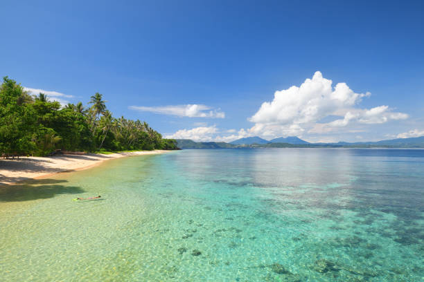 Beautiful beach with a coral reef on a tropical island Beautiful scenery of a tropical beach and a coral reef on an island with a floating woman. sulawesi stock pictures, royalty-free photos & images