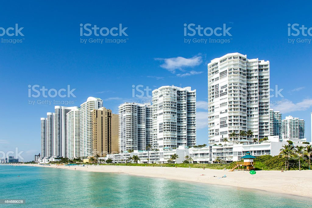 beautiful beach with condomiums and skyscraper in Sunny Islands stock photo