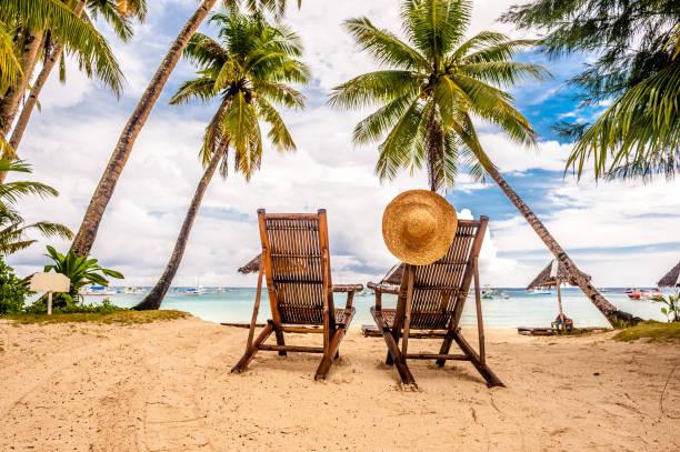 mooi strand met palmbomen - strandvakantie stockfoto's en -beelden