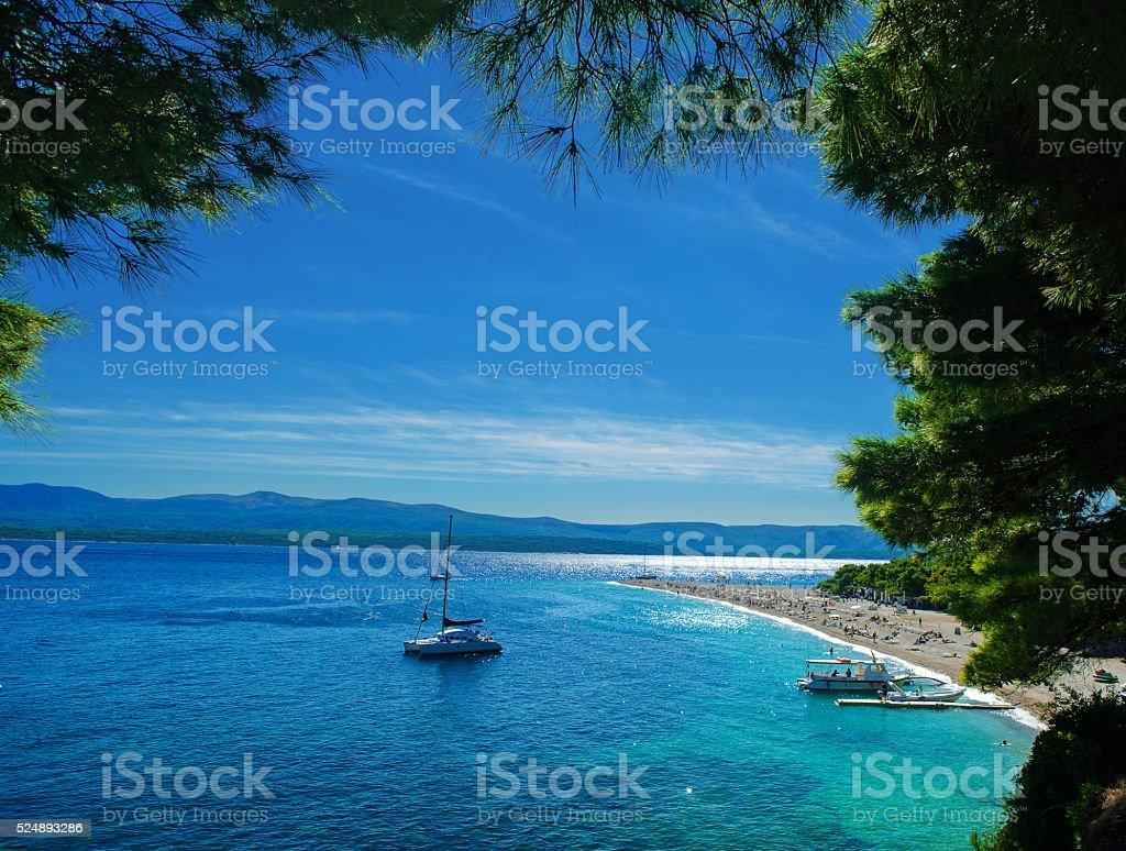 Beautiful beach Zlatni Rat - Golden Cape in Croatia stock photo