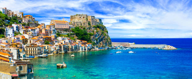 beautiful beaches and towns of Calabria - Scilla. Italian summmer holidays. beautiful medieval town Scilla in Calabria with great beaches sicily stock pictures, royalty-free photos & images