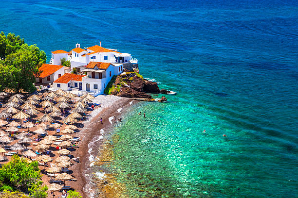 Beautiful Beaches of Hydra,Saronic,Greece. Vlychos Beach in Hydra,Greece. rymdraket stock pictures, royalty-free photos & images