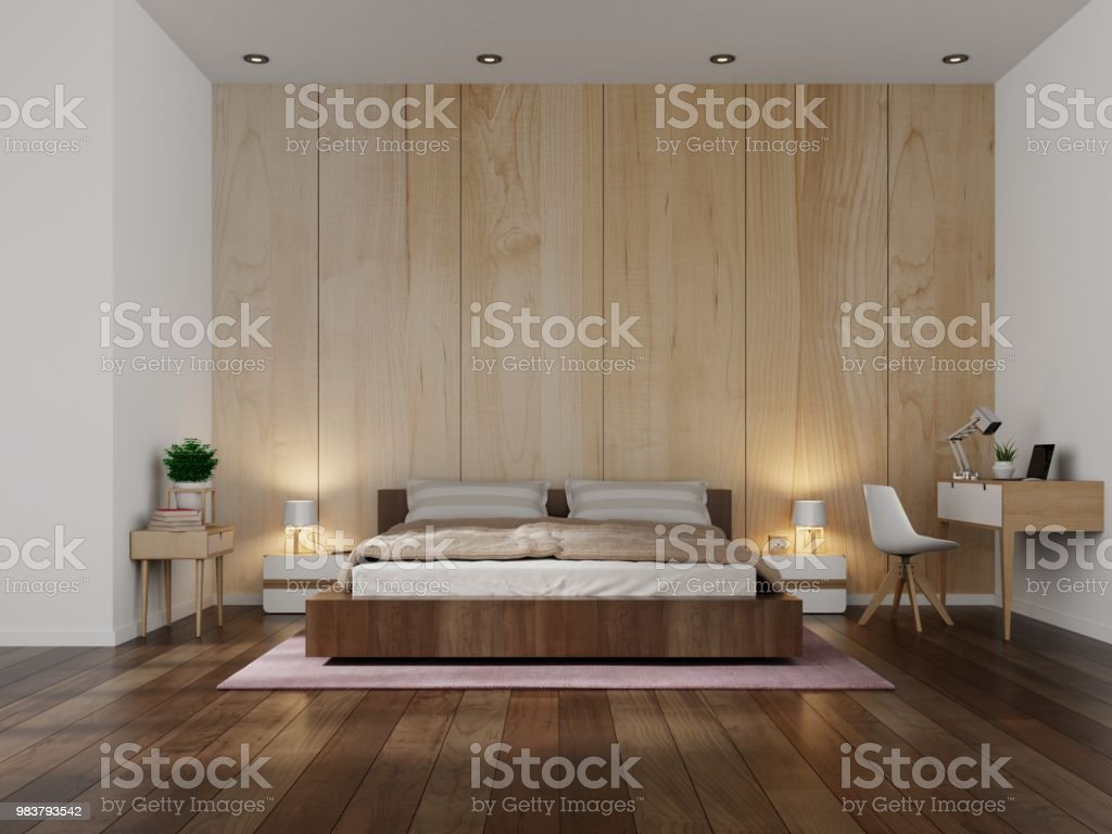 Beautiful Bedroom Interior Design Modern With Wooden Wall Background Stock Photo Download Image Now Istock