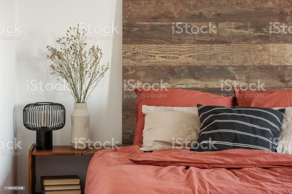Picture of: Beautiful Bedroom Interior With King Size Bed Wooden Headboard Stock Photo Download Image Now Istock
