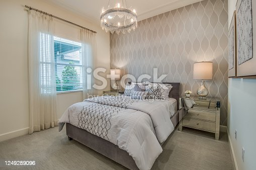 Luxurious elements give this bedroom a classy look