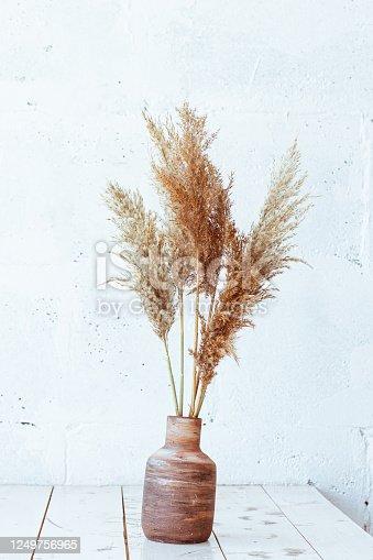 istock Beautiful beige lifestyle background. Fall season concept. Minimal summer concept. Stylish home decor still life 1249756965