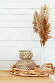 Beautiful beige lifestyle background. Fall season concept. Minimal summer concept. Stylish home decor still life