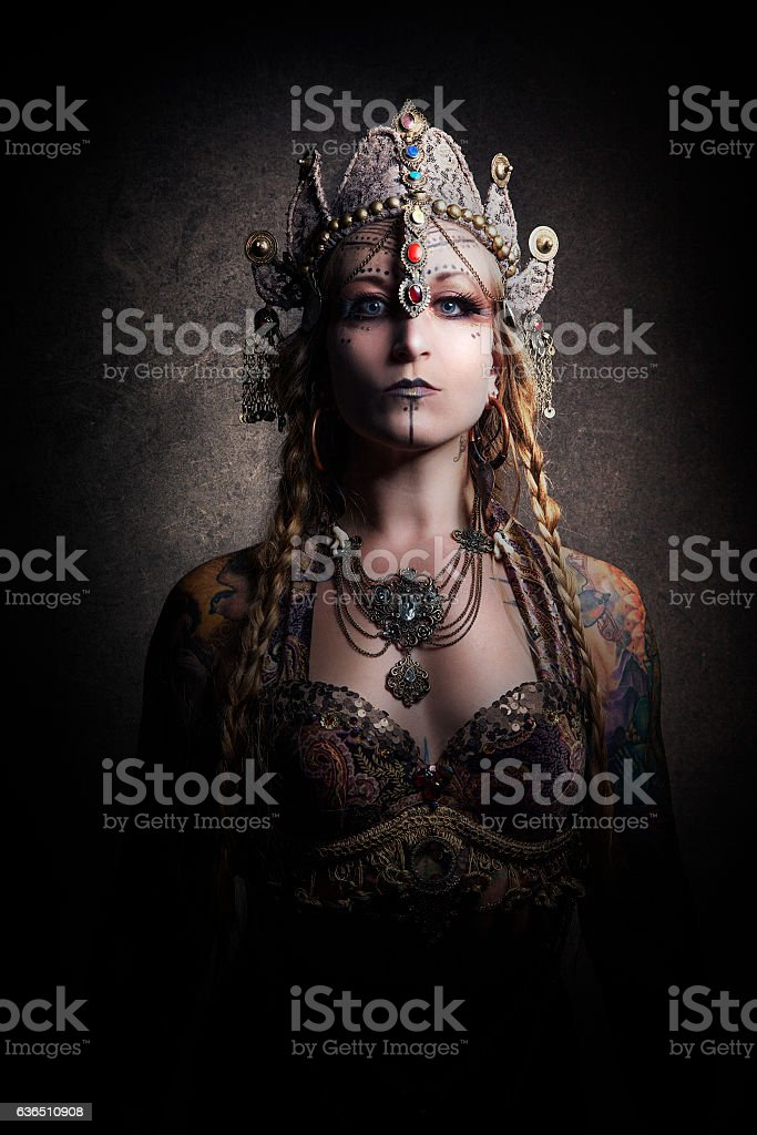 Beautiful Belly Dancer Wearing Chakra Headdress stock photo