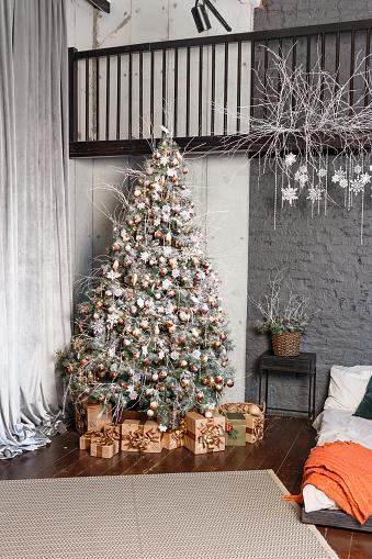 beautiful big Christmas tree in gray style