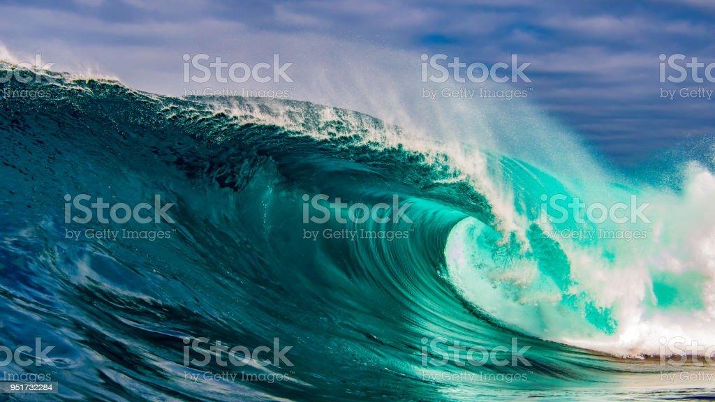 Beautiful big wave crashing stock photo
