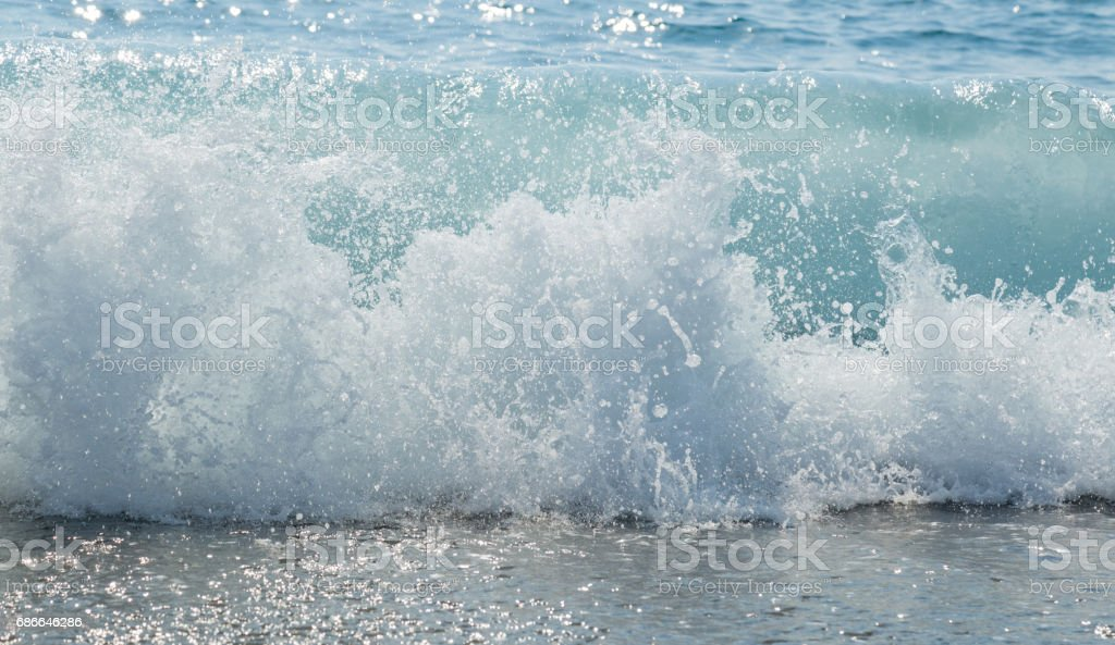 Beautiful big wave the mediterranean sea. royalty-free stock photo