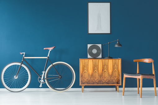 Beautiful bike on blue wall