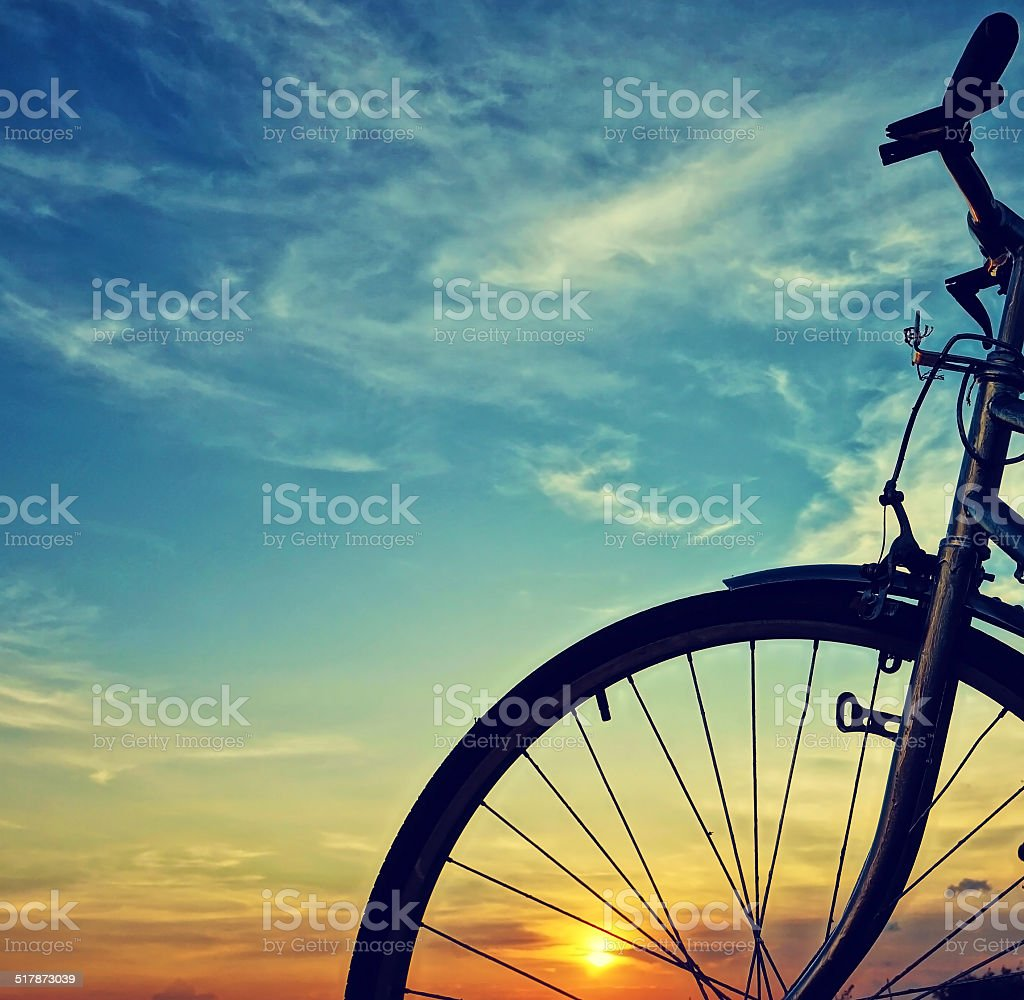 Beautiful bike silhouette, sunset, Vietnam countryside stock photo
