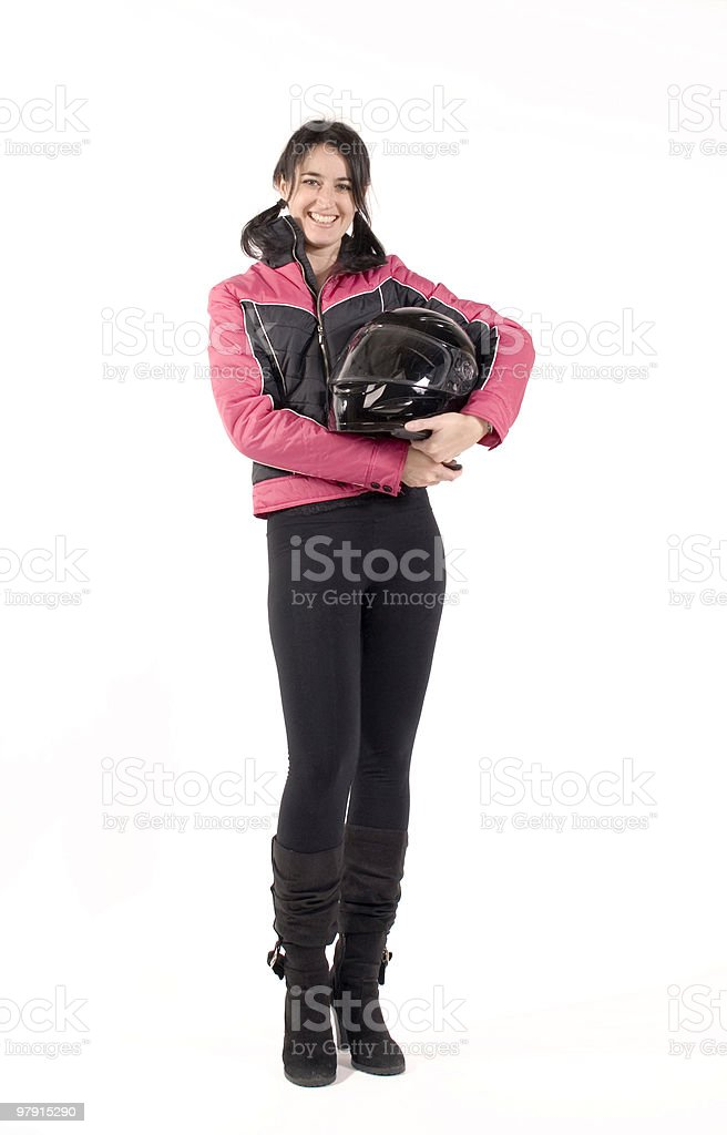Beautiful biker royalty-free stock photo