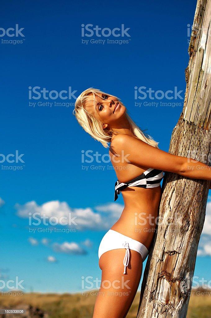 Beautiful bikini girl by the beach royalty-free stock photo