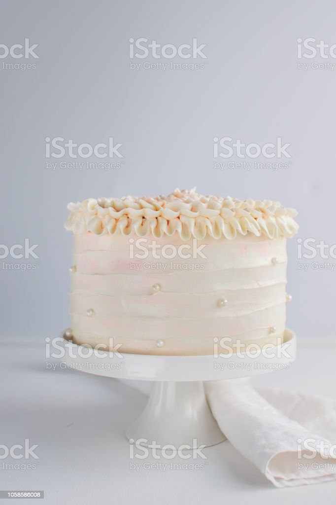 Beautiful Birthday Cake Decorate With Edible Pearls On White