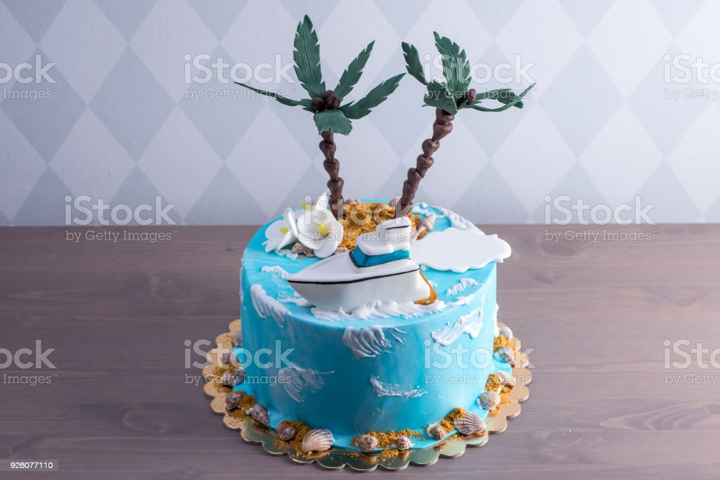 Beautiful Birthday Cake Decorated In An Island With A Palm Tree In