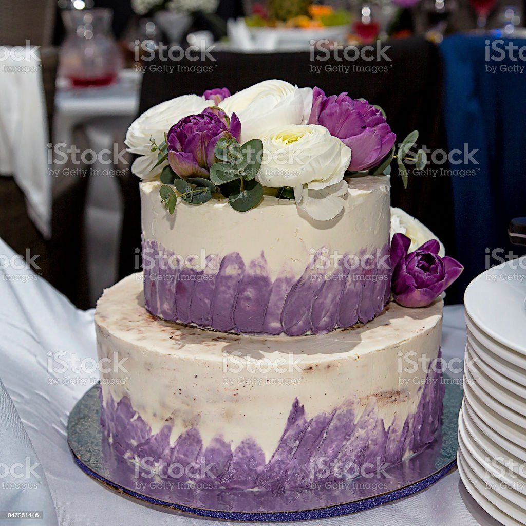 Cool Beautiful Birthday Cake Decorated With Fresh Flowers Stock Photo Funny Birthday Cards Online Overcheapnameinfo