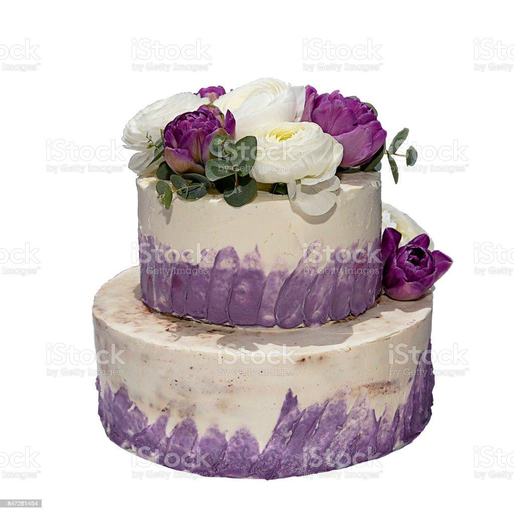 Beautiful Birthday Cake Decorated With Fresh Flowers Stock Photo