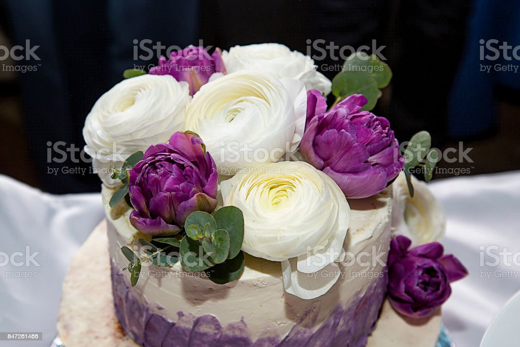 Beautiful Birthday Cake Decorated With Fresh Flowers Stock Photo